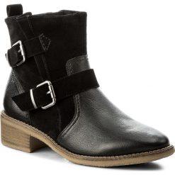Botki TAMARIS - 1-25374-29 Black Leather 003. Czarne botki damskie na obcasie marki Tamaris, z materiału. W wyprzedaży za 199,00 zł.