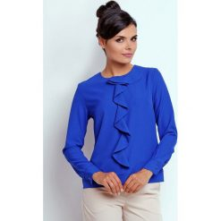 Kobaltowa Kobieca Szykowna Bluzka z Żabotem. Niebieskie bluzki asymetryczne Molly.pl, l, biznesowe, z dekoltem na plecach, z długim rękawem. Za 112,90 zł.