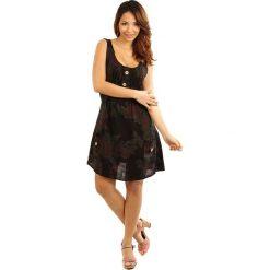 Sukienki: Lniana sukienka w kolorze czarno-brązowo-zielonym