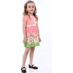 Sukienka w kwiatki łososiowa NDZ8162. Czerwone sukienki dziewczęce w kwiaty marki Fasardi. Za 59,00 zł.