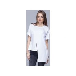Asymetryczna unikatowa koszulka biała H014. Czarne t-shirty damskie Harmony, l, z bawełny, z asymetrycznym kołnierzem. Za 134,00 zł.