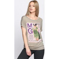 Bluzki damskie: Khaki T-shirt Solitary