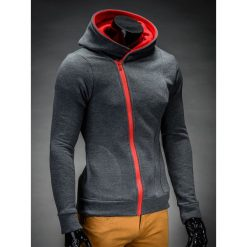 BLUZA MĘSKA ROZPINANA Z KAPTUREM PRIMO - GRAFITOWO/CZERWONA. Czerwone bluzy męskie rozpinane marki Ombre Clothing, m, z bawełny, z kapturem. Za 75,00 zł.