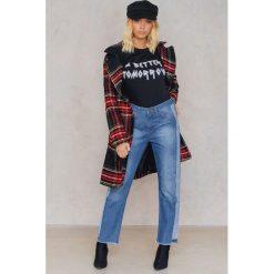 Spodnie z wysokim stanem: Trendyol Jeansy ze wstawkami i frędzelkami - Blue