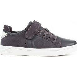 """Sneakersy """"DJRock"""" w kolorze szarym. Niebieskie trampki chłopięce marki geox kids, z gumy. W wyprzedaży za 129,95 zł."""