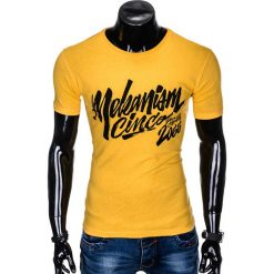 T-SHIRT MĘSKI Z NADRUKIEM S955 - ŻÓŁTY. Żółte t-shirty męskie z nadrukiem marki Ombre Clothing, m. Za 29,00 zł.