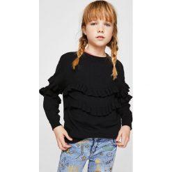 Mango Kids - Sweter dziecięcy Angie 110-164 cm. Szare swetry dziewczęce Mango Kids, z dzianiny, z okrągłym kołnierzem. W wyprzedaży za 49,90 zł.