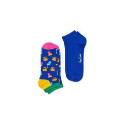 Skarpetki Happy Socks - 2-Pak Low Socks (HAM02-6000). Niebieskie skarpetki męskie Happy Socks, w kolorowe wzory, z bawełny. Za 47,90 zł.