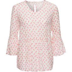 Bluzka tunikowa bonprix biel wełny z nadrukiem. Białe bluzki z odkrytymi ramionami marki bonprix, z nadrukiem, z wełny. Za 89,99 zł.