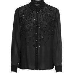 Bluzka z cekinami bonprix czarny. Czarne bluzki asymetryczne bonprix, z aplikacjami, z długim rękawem. Za 79,99 zł.