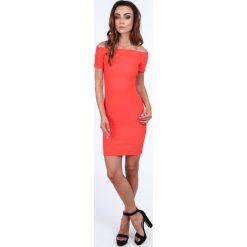 Sukienka dopasowana carmen pomarańczowa 22444. Niebieskie sukienki marki bonprix, na lato, w kwiaty, z asymetrycznym kołnierzem. Za 54,00 zł.