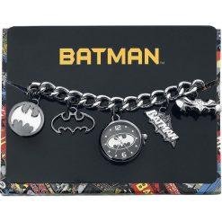 Zegarki damskie: Batman Logo Charm Watch Zegarek na rękę srebrny/czarny