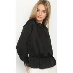 Czarna Bluzka Lace Trims. Czarne bluzki koronkowe marki bonprix. Za 64,99 zł.