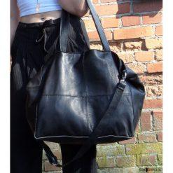 Torebki i plecaki damskie: Czarna skórzana torba XL