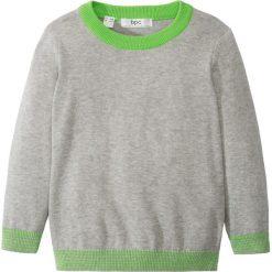 Swetry męskie: Sweter dzianinowy bonprix jasnoszary melanż – jaskrawy zielony