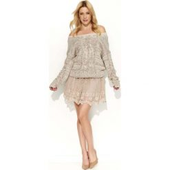 Swetry damskie: Beżowy Sweter Melanżowy z Warkoczami