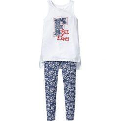 Długi top + legginsy (2 części) bonprix indygo z nadrukiem. Czarne bluzki dziewczęce z nadrukiem marki bonprix, z dresówki. Za 54,99 zł.