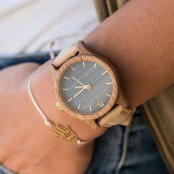 Zegarek Neat Zegarek damski wiąz drewniany niebiesko-złoty 38mm. Niebieskie zegarki damskie Neat, złote. Za 324,00 zł.