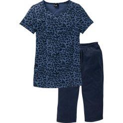 Piżamy damskie: Piżama ze spodniami 3/4 bonprix niebieski indygo z nadrukiem