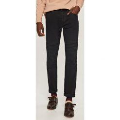 Rurki męskie: Spodnie w stylu motocyklowym slim – Czarny