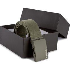 Pasek Męski CALVIN KLEIN - Canvas Adj Plaque Belt K50K500972 80  313. Zielone paski męskie marki Calvin Klein, w paski, z materiału. Za 129,00 zł.