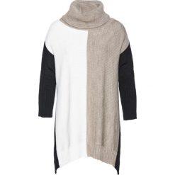 Sweter bonprix ecru-beżowo-czarny. Szare golfy damskie bonprix. Za 59,99 zł.