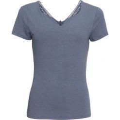 T-shirt z koronką bonprix dymny niebieski. Szare t-shirty damskie bonprix, z aplikacjami, z koronki, z dekoltem w serek. Za 37,99 zł.
