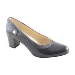 Buty ślubne damskie: Skórzane czółenka w kolorze ciemnoszarym