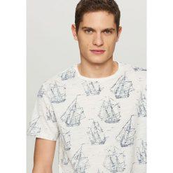 T-shirty męskie: T-shirt z żeglarskim nadrukiem – Biały