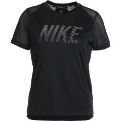 Topy sportowe damskie: Nike Performance DRY MILER  Tshirt z nadrukiem black/white/reflective silver
