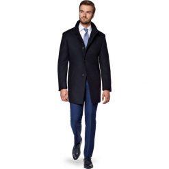 Płaszcz Granatowy Alexio. Niebieskie płaszcze na zamek męskie marki LANCERTO, m, z bawełny, klasyczne. W wyprzedaży za 499,90 zł.
