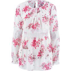 Bluzka szyfonowa z kolekcji Maite Kelly bonprix biel wełny w kwiaty. Niebieskie bluzki z odkrytymi ramionami marki bonprix, z nadrukiem. Za 79,99 zł.