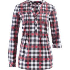 Tunika bluzkowa, długi rękaw bonprix bordowy w kratę. Czerwone tuniki damskie z długim rękawem bonprix. Za 74,99 zł.