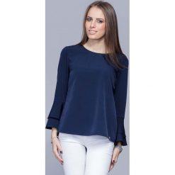 Bluzki damskie: Granatowa Elegancka Asymetryczna Bluzka z Hiszpańskim Rękawem