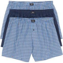 Bokserki z tkaniny (3 pary) bonprix w kratę + ciemnoniebieski. Niebieskie bokserki męskie bonprix, z tkaniny. Za 68,97 zł.
