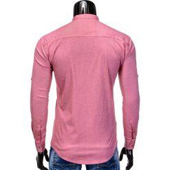 KOSZULA MĘSKA Z DŁUGIM RĘKAWEM K353 - CZERWONA. Brązowe koszule męskie na spinki marki Ombre Clothing, m, z aplikacjami, z kontrastowym kołnierzykiem, z długim rękawem. Za 59,00 zł.