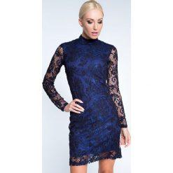 Sukienki: Sukienka sylwestrowa koronkowa chabrowo-czarna 6558