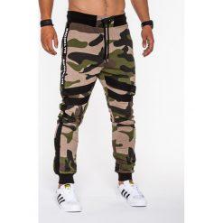SPODNIE MĘSKIE DRESOWE P545 - ZIELONE. Zielone spodnie dresowe męskie Ombre Clothing, z bawełny. Za 65,00 zł.