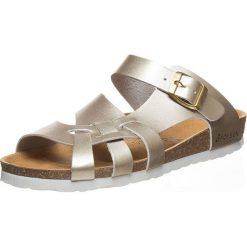 Buty damskie: Skórzane klapki w kolorze złotym
