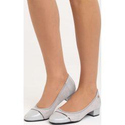 Szare Czółenka Ceiler. Szare buty ślubne damskie Born2be, ze skóry, z okrągłym noskiem, na niskim obcasie, na słupku. Za 79,99 zł.