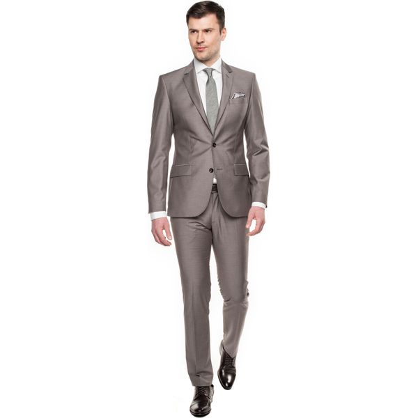 95038bc0dddc6 garnitur castel 311 beż slim fit - Szare garnitury męskie Recman, z ...
