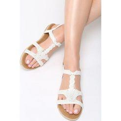 Białe Sandały Mirthful. Białe sandały damskie Born2be, z materiału, na obcasie. Za 89,99 zł.
