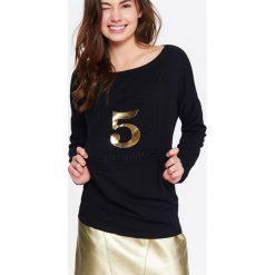 Bluzy rozpinane damskie: BLUZA NIEROZPINANA DAMSKA Z NADRUKIEM, Z APLIKACJĄ