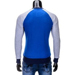 BLUZA MĘSKA BEZ KAPTURA B453 - NIEBIESKA. Niebieskie bluzy męskie marki Ombre Clothing, m, z bawełny, bez kaptura. Za 59,00 zł.