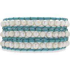 Bransoletki damskie: Skórzana bransoletka w kolorze turkusowym z hodowlanymi perłami słodkowodnymi