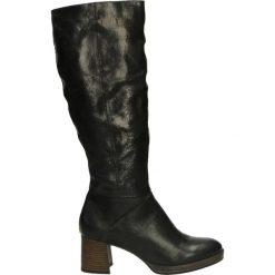 Kozaki ocieplane - 162305 NERO. Czarne buty zimowe damskie marki Kazar, ze skóry, na wysokim obcasie. Za 279,00 zł.