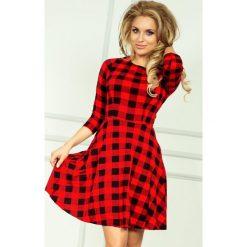 Paulina Rozkloszowana sukienka z rękawkiem. Czerwone sukienki na komunię numoco, s, rozkloszowane. Za 129,99 zł.