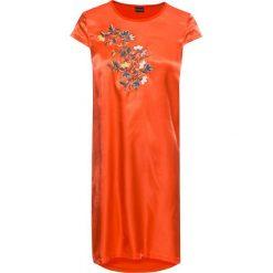Sukienki: Sukienka w połączeniu różnych materiałów, z haftem bonprix głęboki pomarańczowy