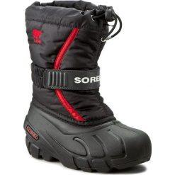Buty zimowe chłopięce: Śniegowce SOREL – Childrens Flurry NC1885 Black/Bright Red 015