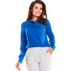Niebieska Elegancka Klasyczna Koszula z Pojedynczą Kieszenią. Niebieskie koszule damskie Molly.pl, l, biznesowe, z klasycznym kołnierzykiem, z długim rękawem. Za 109,90 zł.